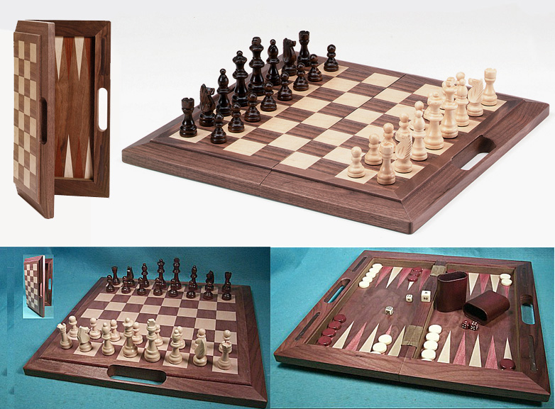 3 in 1 Walnut Wood Combination Chess Backgammon & Checkers Set with Carrying Case
