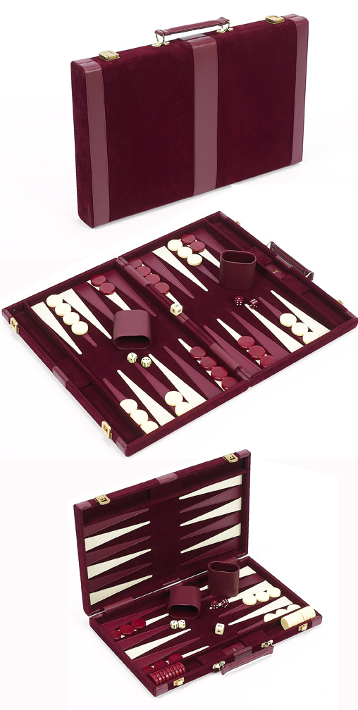 Small, Burgundy Velour Backgammon Set With Leatherette Accents.