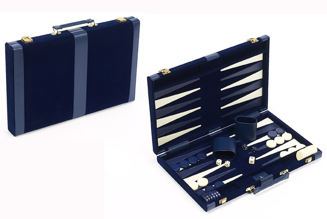 Small, Blue Velour Backgammon Set with Leatherette Accents.