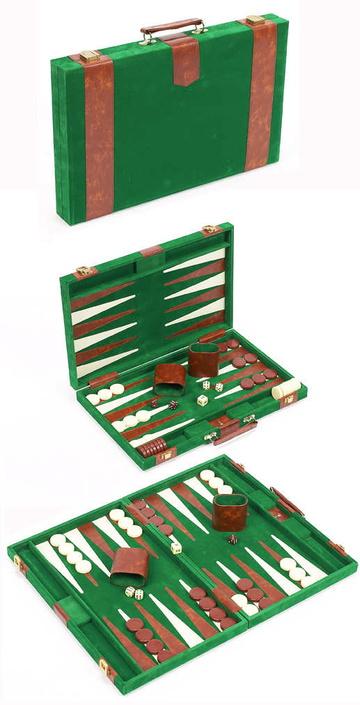 Travel Size Green Velour Backgammon Set With Leatherette Accents