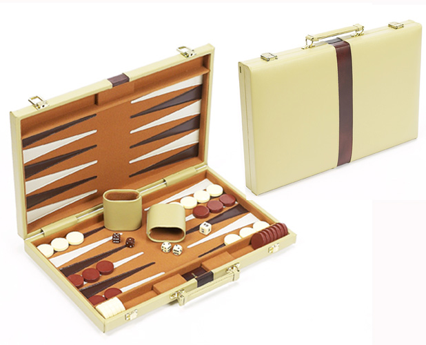 Small, Elegant Cream Leatherette Backgammon Set with Felted Playing Field.