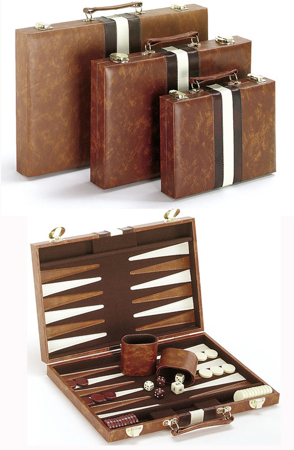Travel Size, Brown and White Backgammon Set.