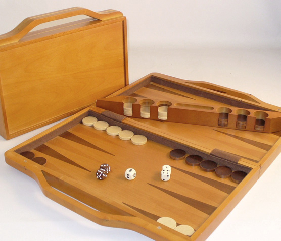 Travel Size Walnut Wood Backgammon Set