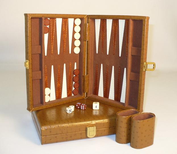 "9"" Tan Peacock Vinyl Backgammon Set"