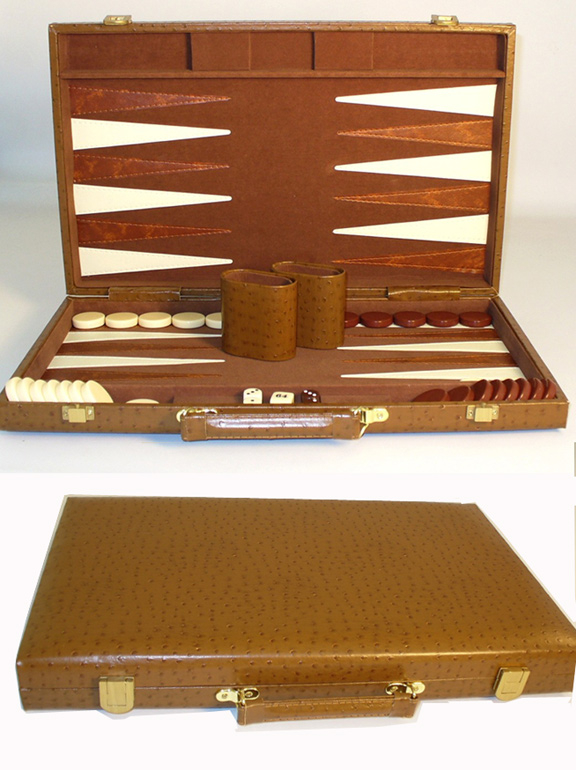Premium, Tan Peacock Vinyl Backgammon Set