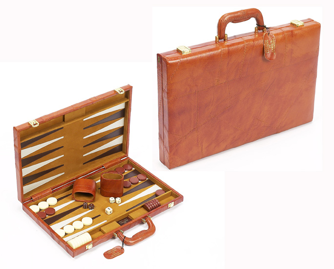 "18"" Brown Leather Backgammon Set."