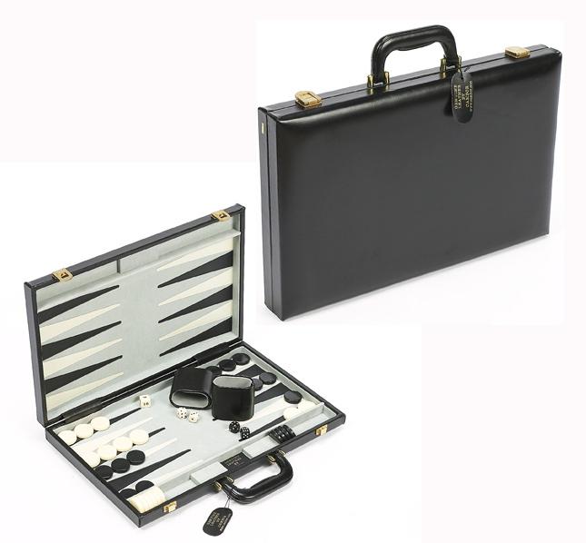 "18"" Black Genuine Leather Backgammon Set."