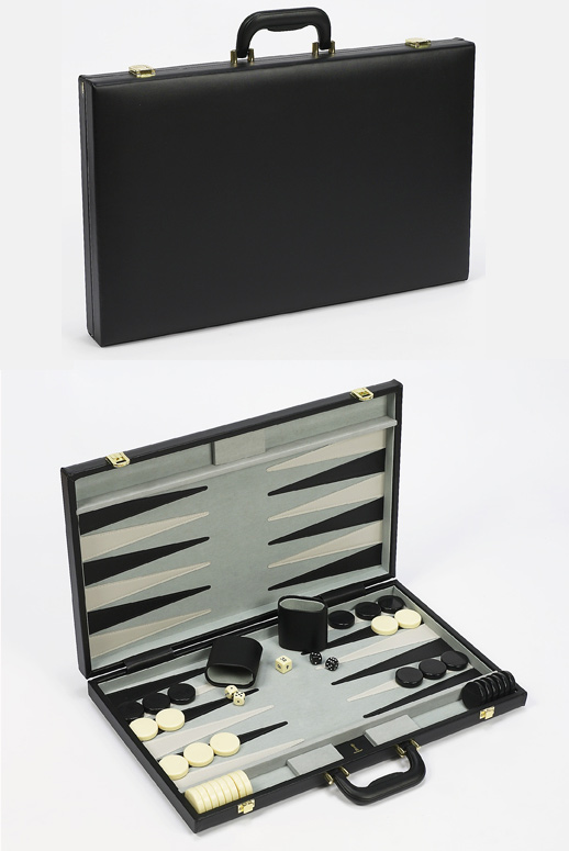 "21"" Tournament  Black Leatherette Backgammon Set."
