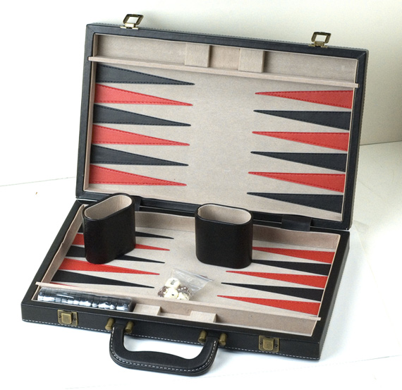 Black Leatherette Backgammon Set.