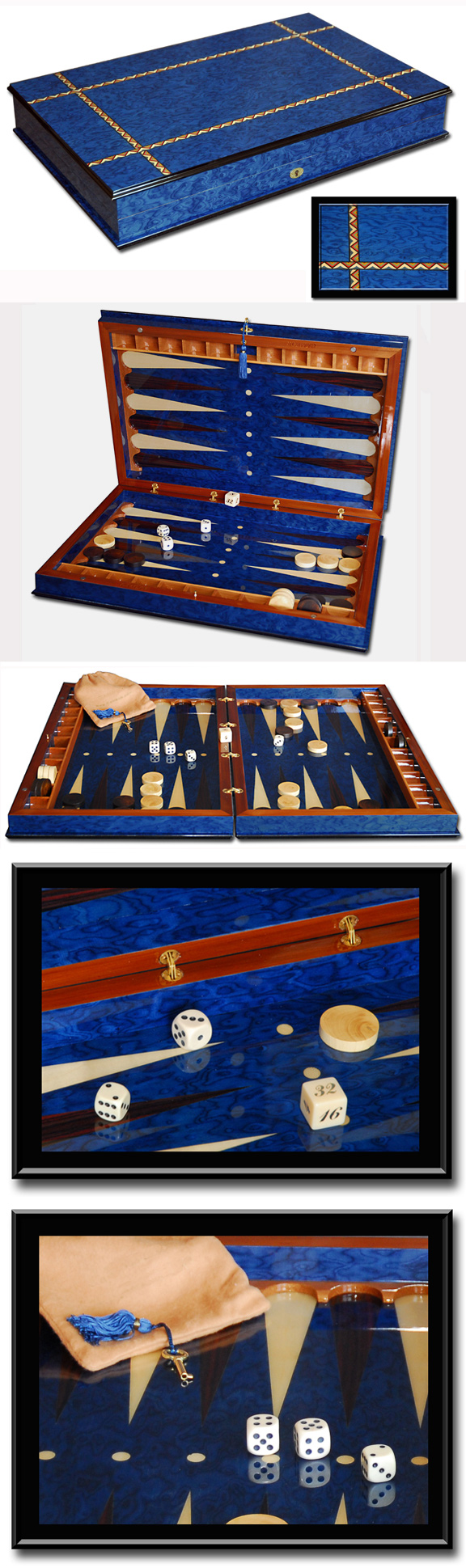 Blue Sorrento Backgammon Set