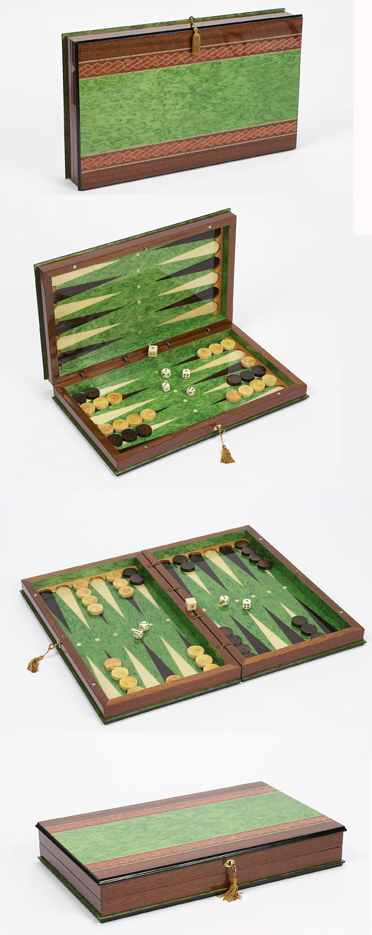 Green Sorrento Backgammon Set.