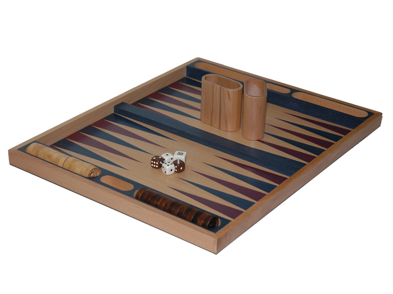 "19"" Non Folding, Beech Wood Backgammon Set"