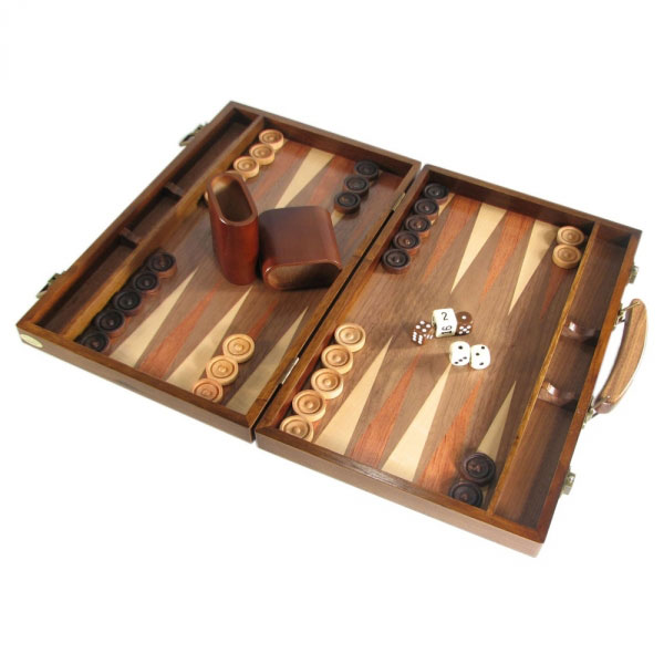 Walnut Attache Style Backgamon Set