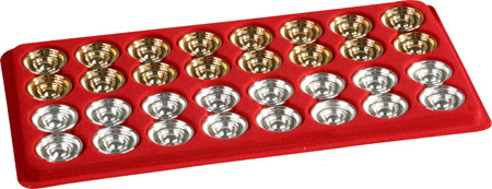 24kt. Gold & Silver Finished Metal Italian Backgammon Checkers.