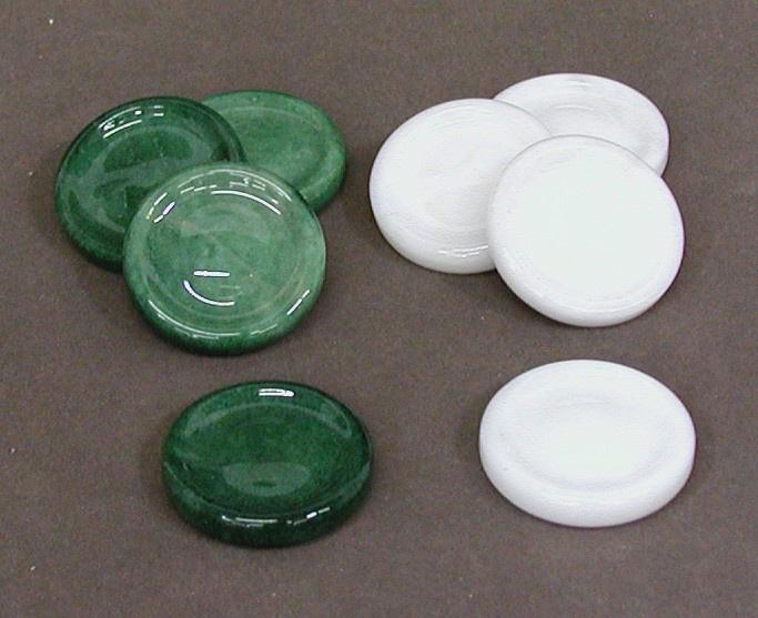 Italian Green & White Alabaster Backgammon Checkers.