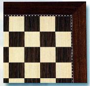 Sycamore & Walnut Chess Board With Inlaid Border Design.