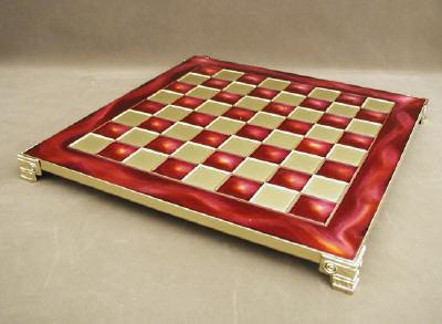Red Pressed Enamel Brass Chess Board.