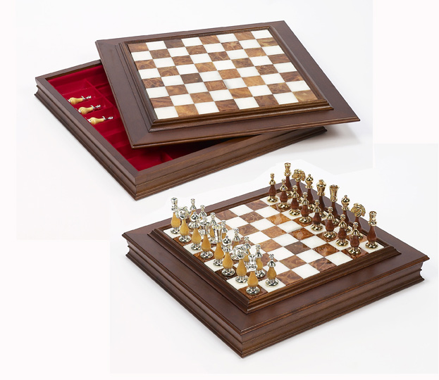 Italian Alabaster Wood Chess Board.