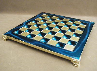 blue metal brass and wood chess board