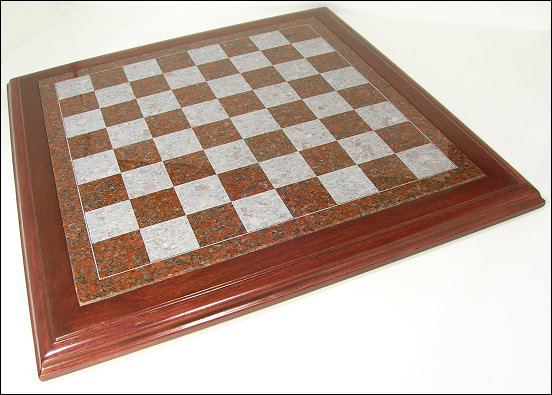 Granite Ruby Red Chessboard With Cherry Wood Frame