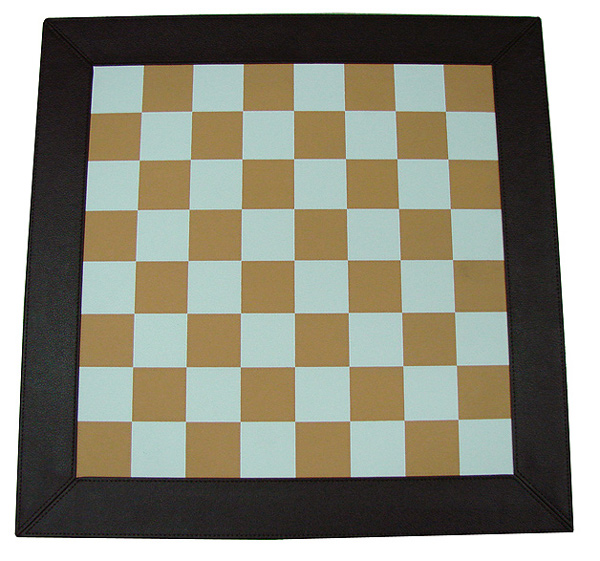 """18"""" Leatherette Chessboard with Frame- Brown & White."""