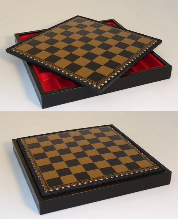 Italian Black & Gold Pressed Leather and Wood Chest Chessboard.