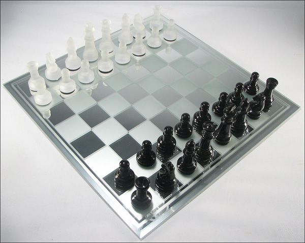 Mirrored Glass Chess Board With Smoked Squares