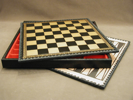 Pressed Leather & Wood Black & Gold Chest & Backgammon Chessboard With Storage Compartment.