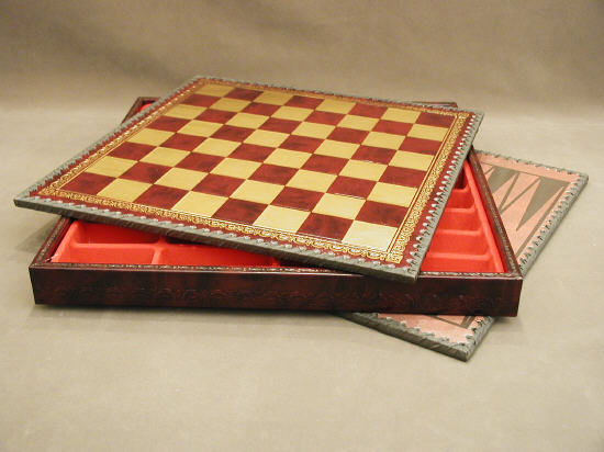 Italian Burgundy & Gold Pressed Leather Chest Chess & Backgammon board.