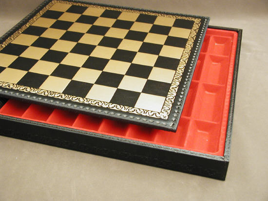 Black & Gold Chest Pressed Leather Italian Chessboard.