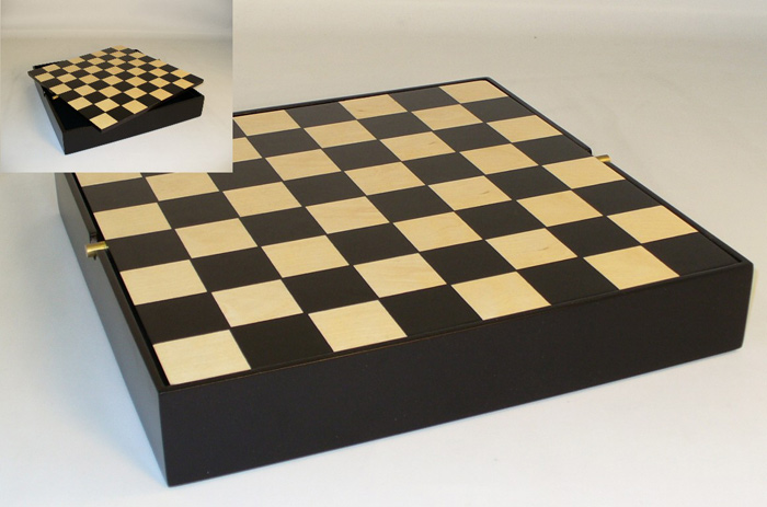 Black Maple Veneer Chest Chessboard With Wood Diveders for Men Under Board