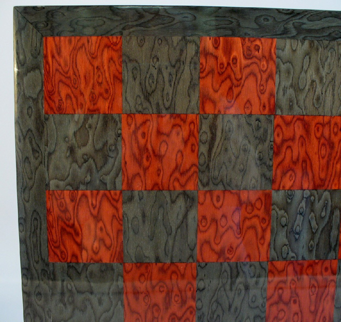 Grey & Red Briar Glossy Chessboard.