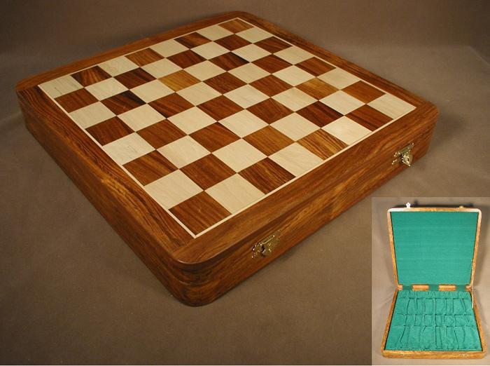Sheesham & Boxwood Chessboard with Hinged Storage Compartment
