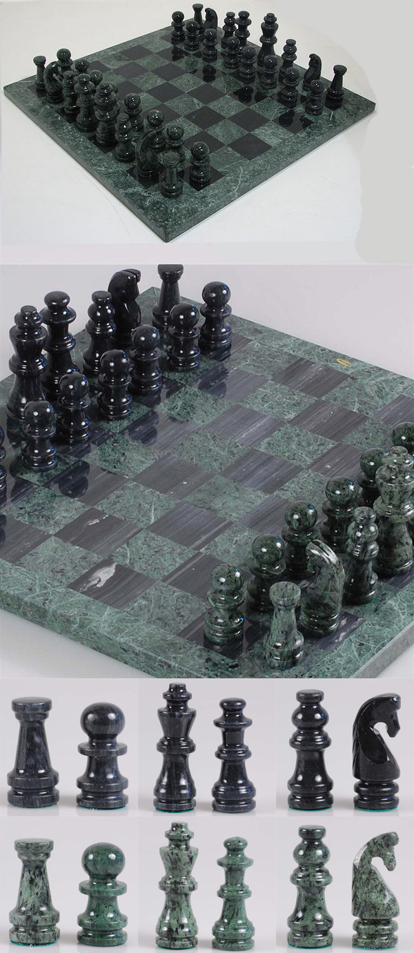 Hand Polished Green and Black Marble Chess Set with Matching Game Pieces