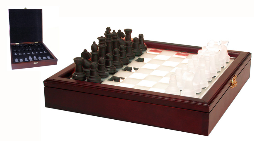 Frosted Mirror Top Glass Chess Set with Cherry Wood Board