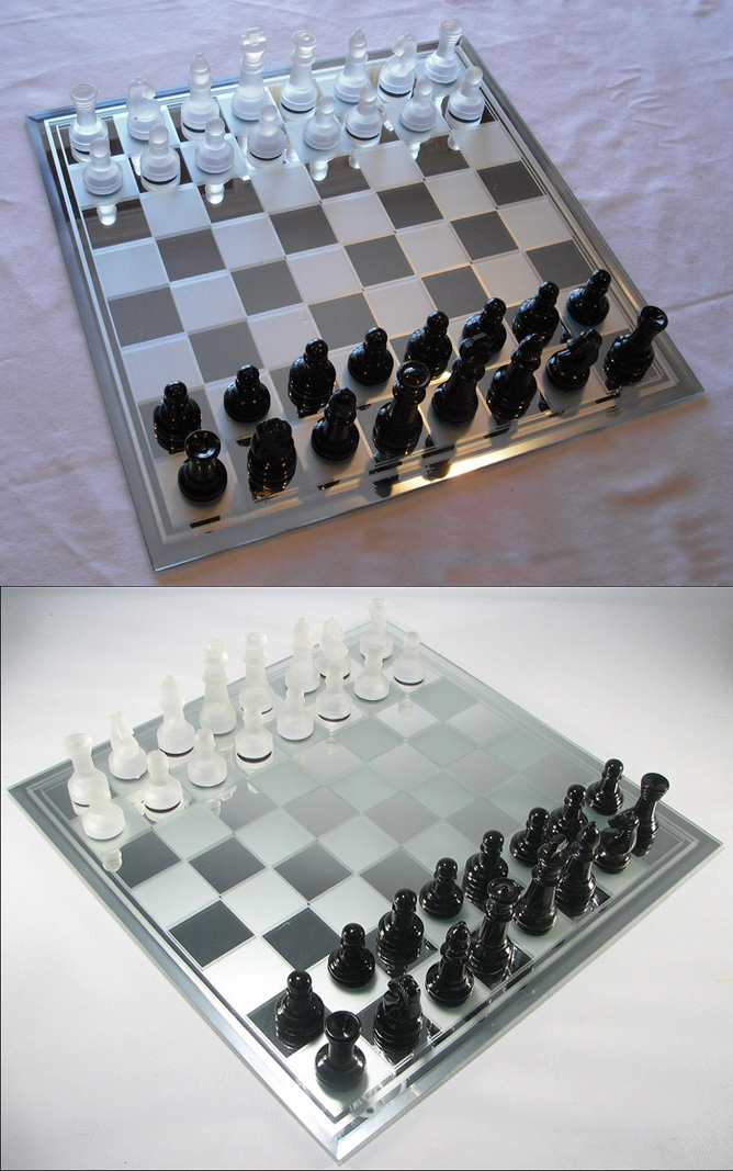 Frosted Glass & Mirror Chess Set with Staunton Game Pieces