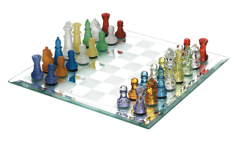 Colored Glass Chess Set With Mirrored Chessboard