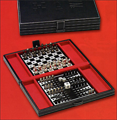 Backgammon & Chess Combination Set In Black Leather Game Case