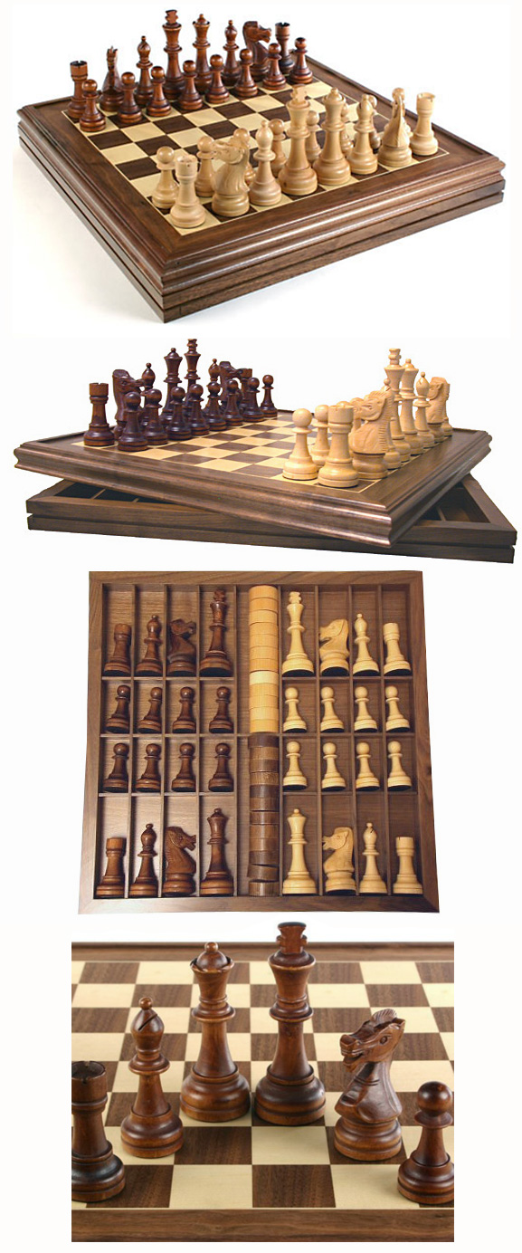 Giant Walnut Chess & Checkers Combo Set with 6