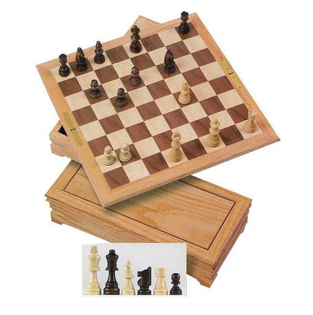 Oak Wood Fold-Away Chess & Checkers Combination Set