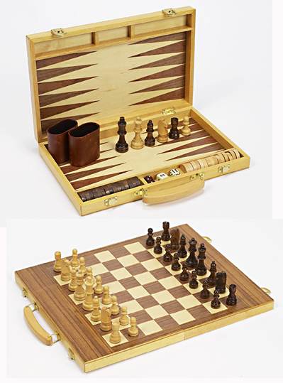 Three in One Backgammon Combination Set with Wood Folding Carrying Case