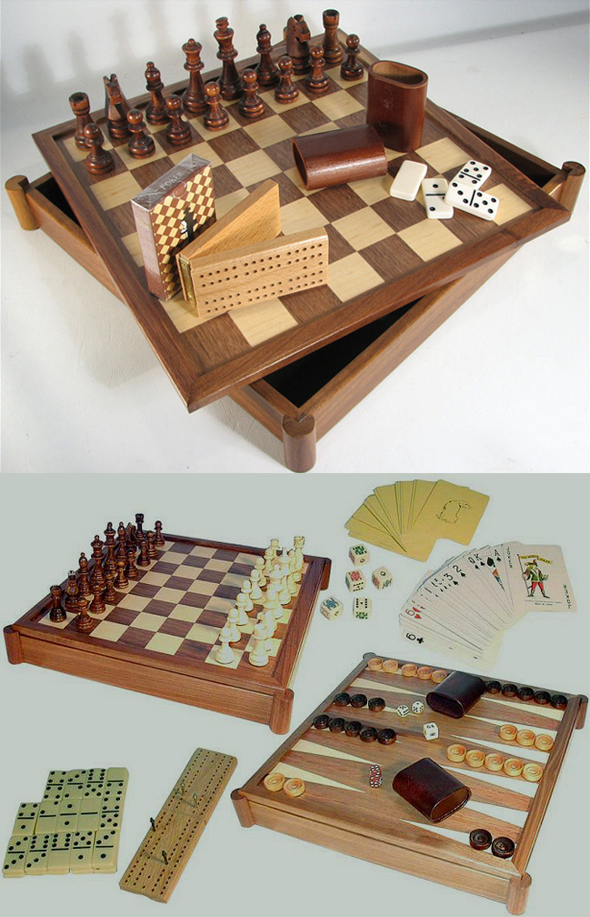 Deluxe Walnut Combination 7 in 1 Chess and Backgammon Game Set