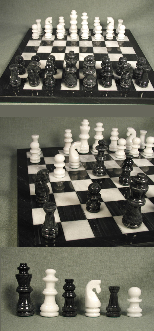 White & Black Marble Chess Set
