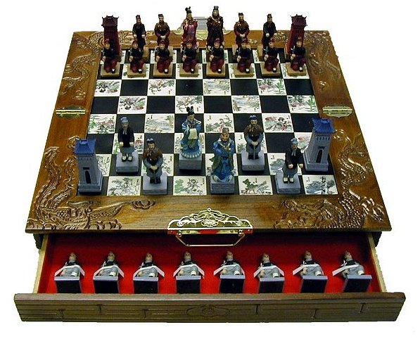 Asian Kingdoms Hand Painted Chinese Chess Set.