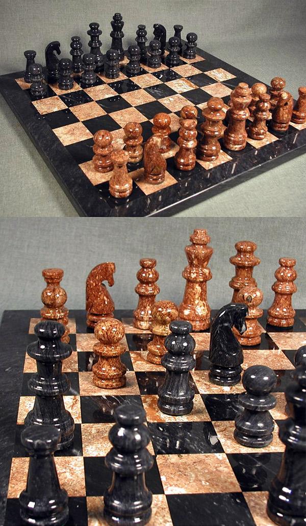 Marble Black & Tan Chess Set