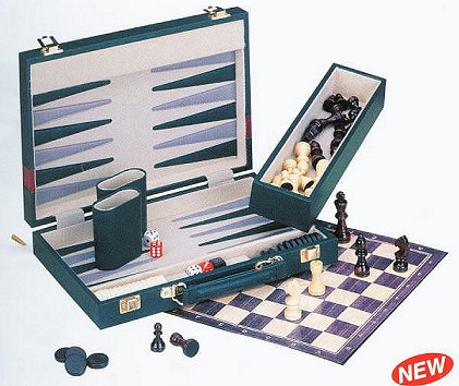 Fold-Away Backgammon/Chess/Checkers Game Case Combo