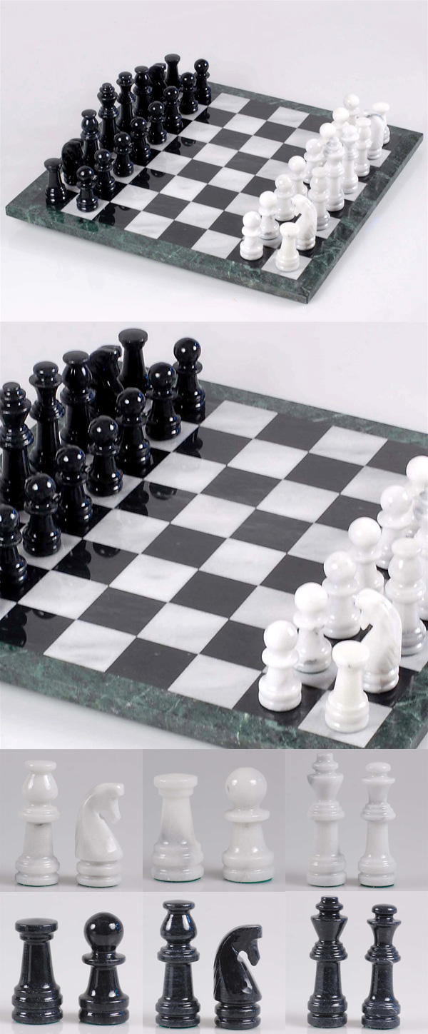 European Marble Chess Set in Soft White & Black Ebony with Jade Green Border