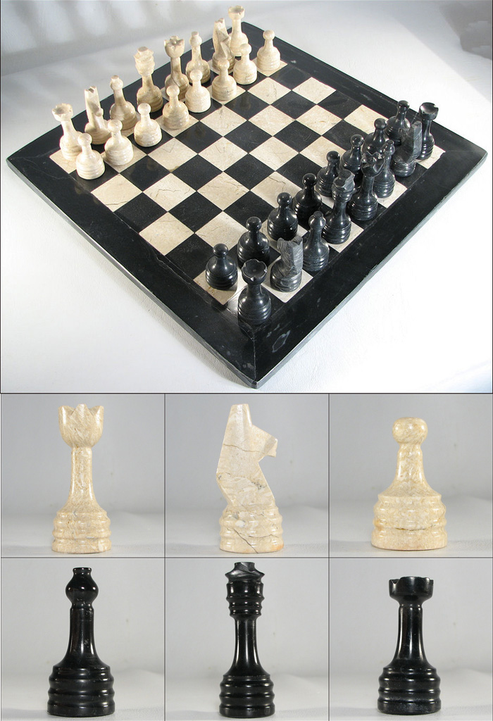 Marble chess set with coral stone ebony - Granite chess pieces ...