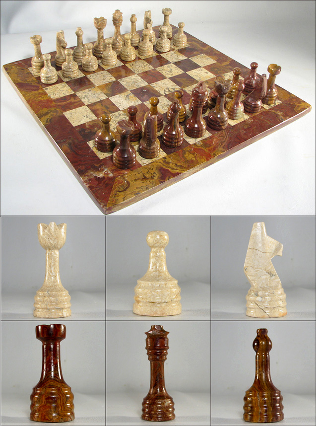Golden Maroon & Coral Stone Italian Marble Chess Set