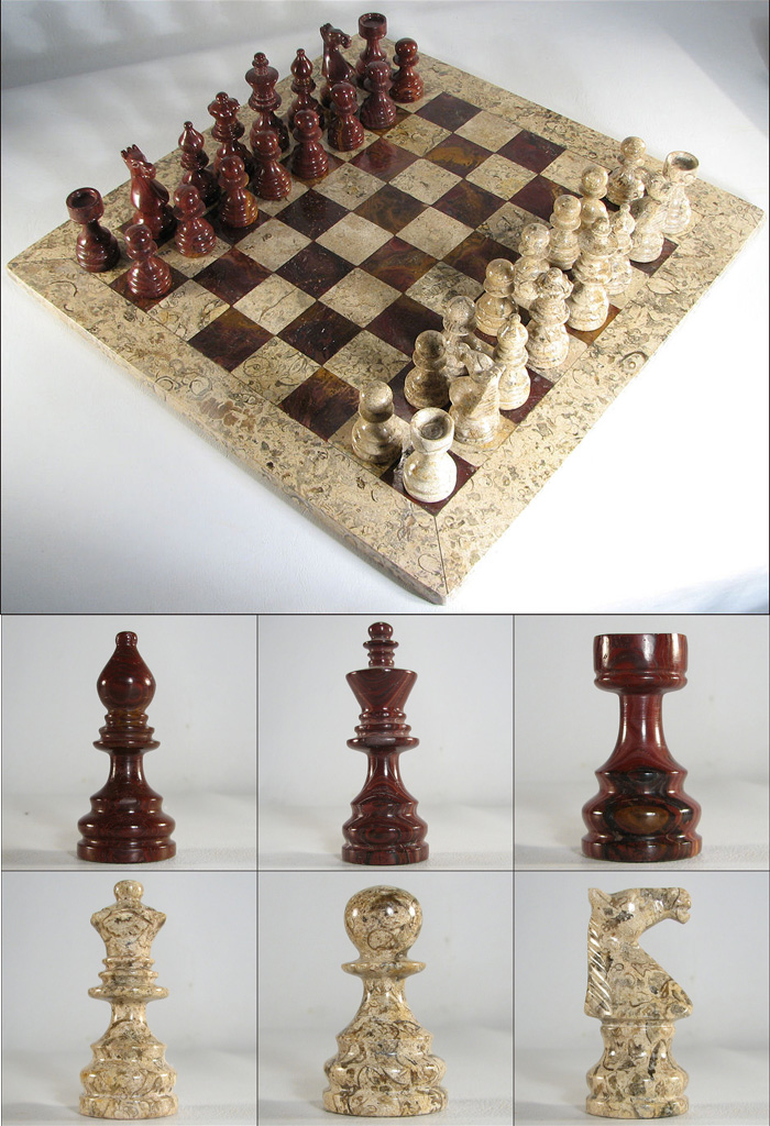Auburn coral stone italian marble chess set - Granite chess pieces ...